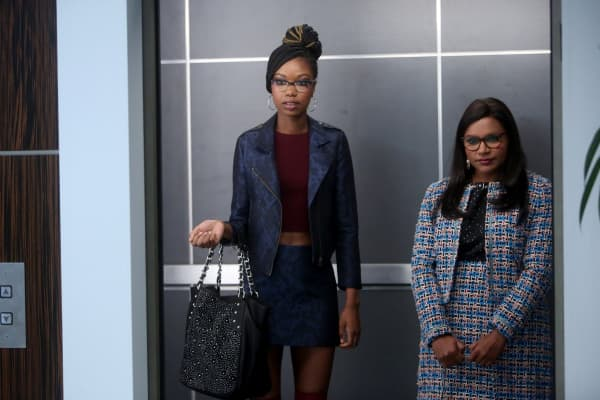 Xosha Roquemore as Tamra Webb, Mindy Kaling as Mindy Lahiri in 'The Mindy Project.'