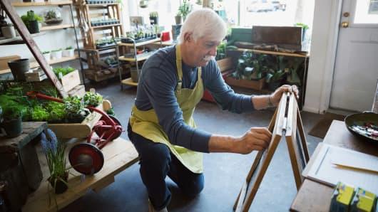 Retirement seniors working small business
