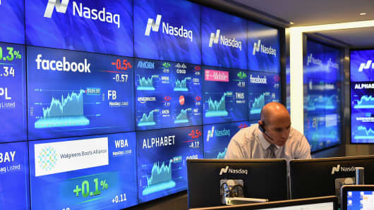 A file photo inside the Nasdaq Marketsite in New York Citу.