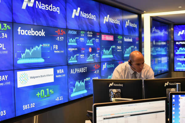 A file photo inside the Nasdaq Marketsite in New York City.