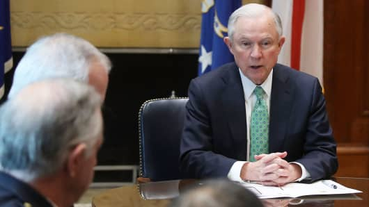 Attorney General Jeff Sessions meets with Police Chiefs from major cities of the Chiefs of Police Association, at the Justice Department March 16, 2016 in Washington, DC.