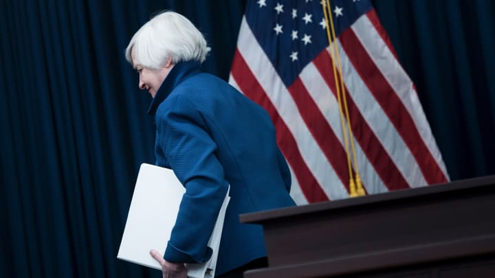 Federal Reserve Board Chairman Janet Yellen leaves after a briefing March 15, 2017 in Washington, DC.