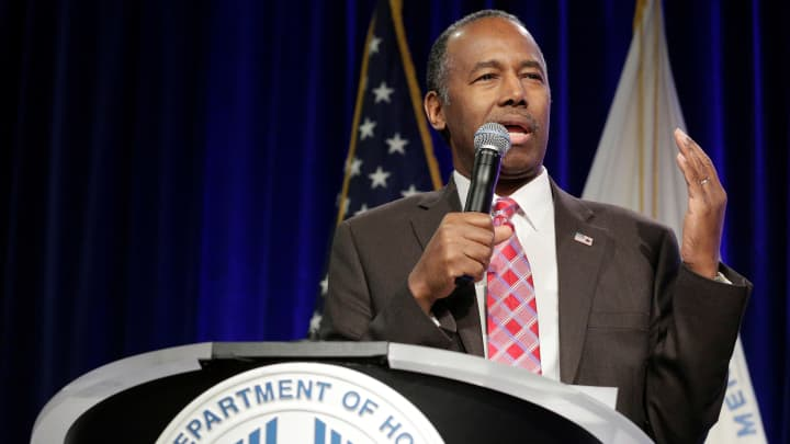 Secretary of Housing and City Model Ben Carson speaks to workers of the agency in Washington, U.S., March 6, 2017.