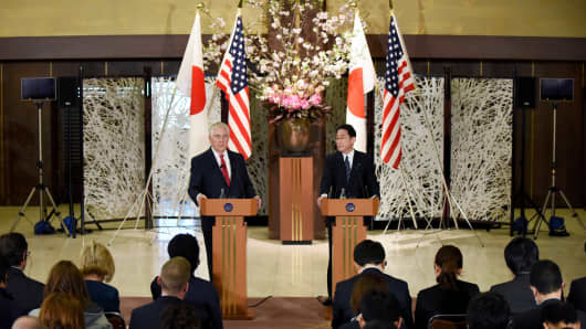 U.S. Secretary of State Rex Tillerson and Japanese foreign minister Fumio Kishida at a joint news conference in Tokyo on March 16, 2017, where Tillerson called for a new approach to efforts to dismantle North Korea's nuclear program.