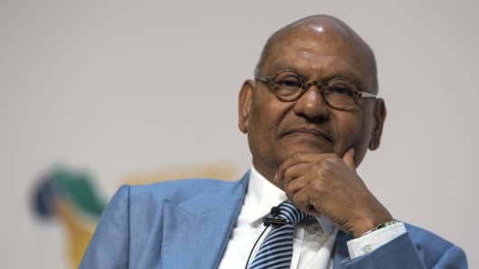 Anil Agarwal, billionaire and owner of Vedanta Resources, pauses during a presentation in Cape Town, South Africa, on Tuesday, Feb. 7, 2017.