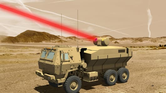 A rendering Lockheed Martin's 60-killowatt laser mounted to a U.S. army truck. The laser beam would not be visible in real life.