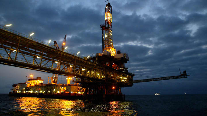 An oil offshore platform owned by Total Fina Elf in the surroundings waters of the Angolan coast.