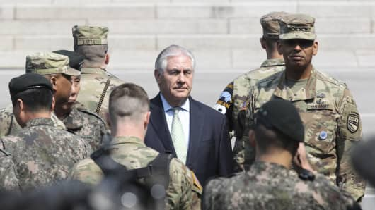 U.S. Secretary of State Rex Tillerson (C) at the border village of Panmunjom, South Korea, on March 17, 2017.