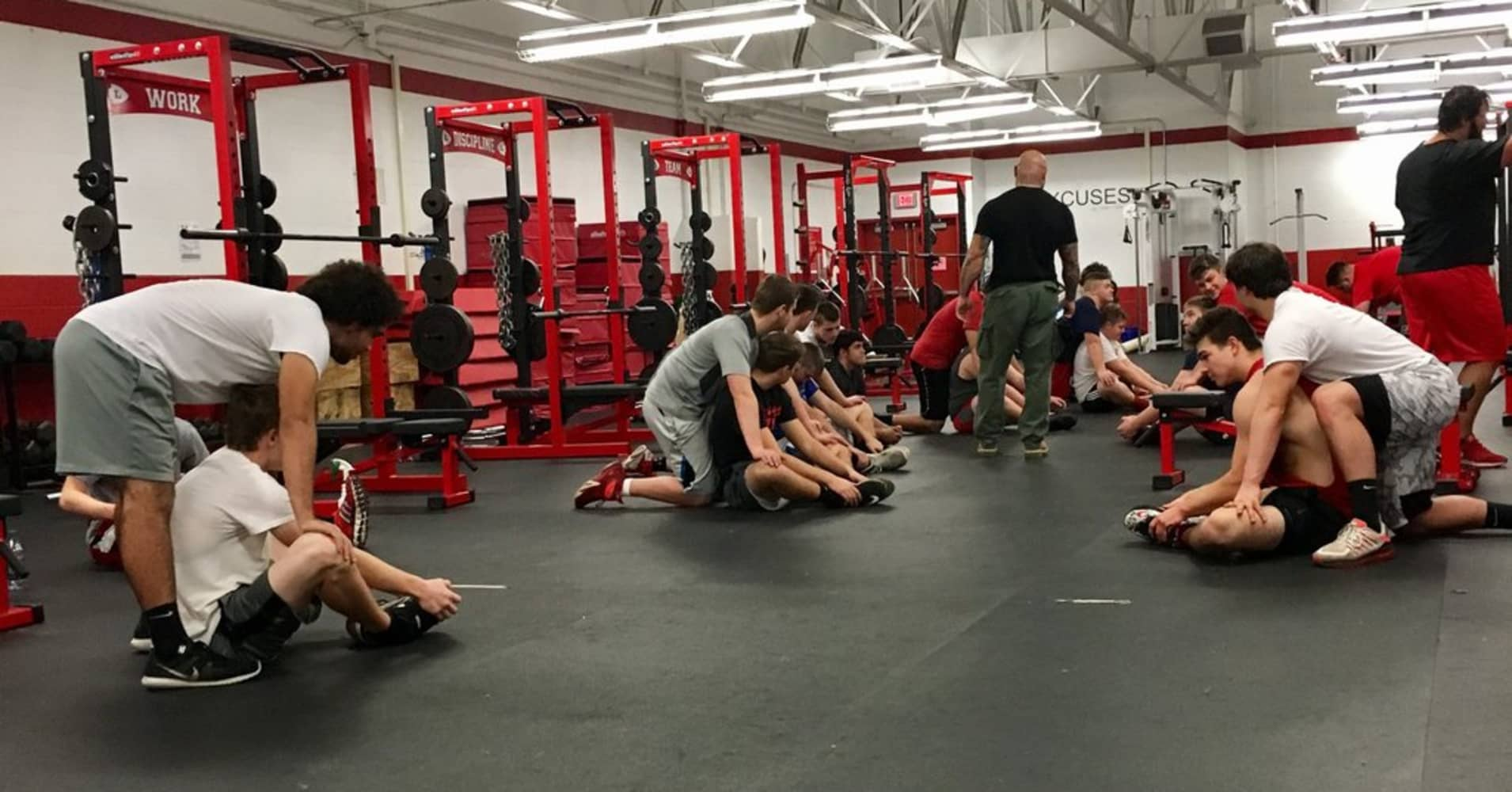 Strength coach and author Jim Wendler leading a session at a local Ohio high school.