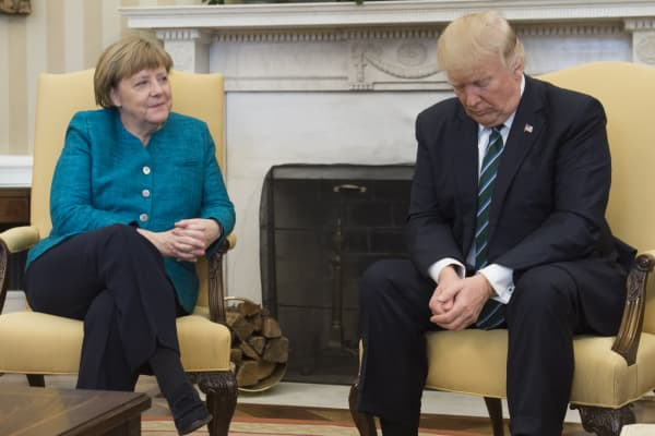 President Donald Trump and German Chancellor Angela Merkel meet in the Oval Office of the White House in Washington, DC, on March 17, 2017.