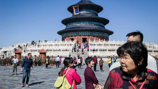 Tourists visit Temple of Heaven in Beijing, China.