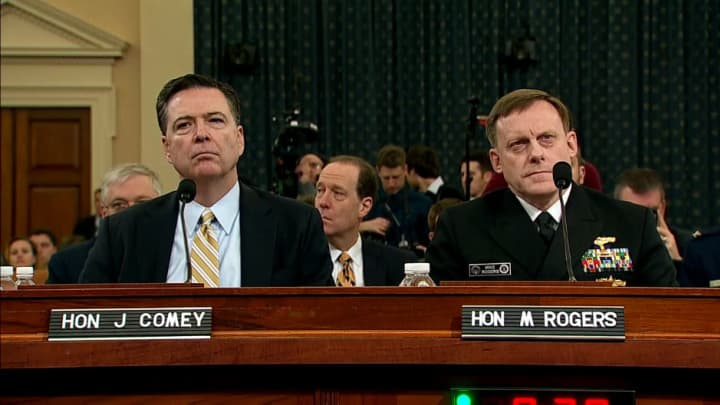 Image result for images of comey and rogers at house hearing