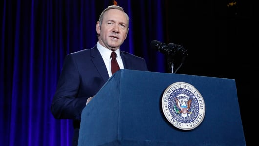 Kevin Spacey speaks on stage at the portrait unveiling and season 4 premiere of Netflix's 'House Of Cards' at the National Portrait Gallery.