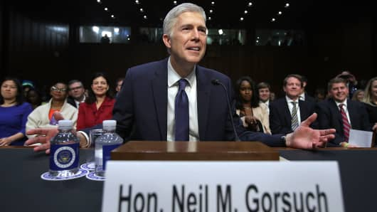 Judge Neil Gorsuch after he arrived for the first day of his Supreme Court confirmation hearing before the Senate Judiciary Committee in the Hart Senate Office Building on Capitol Hill March 20, 2017 in Washington, DC.