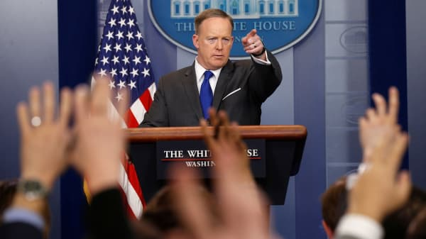 White House spokesman Sean Spicer holds a briefing at the White House in Washington, U.S., March 20, 2017.