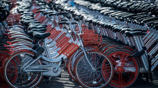 This picture taken on March 1, 2017 shows impounded bicycles from the bike-sharing scheme Mobike Shanghai
