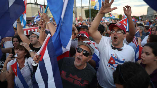People take to the streets of Florida with Cuban flags