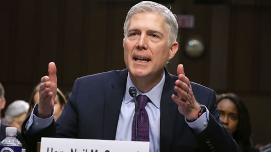 Judge Neil Gorsuch testifies during the second day of his Supreme Court confirmation hearing on Capitol Hill, in Washington, DC.