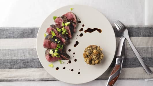 Medicated Steak with Savory Bread Pudding