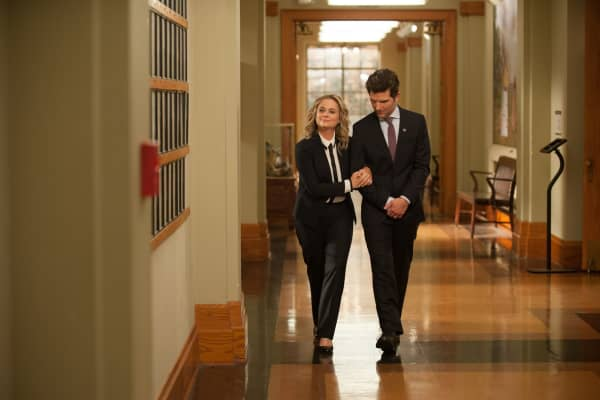 Amy Poehler as Leslie Knope and Adam Scott as Ben Wyatt in Episode 712 of 'Parks and Recreation.'