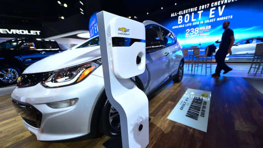 The Chevy Bolt EV, winner of the 2017 Green Car of the Year award, is on display on the second of two press days at the Los Angeles Autoshow, now called Automobility LA, in Los Angeles, California on November 17, 2016.