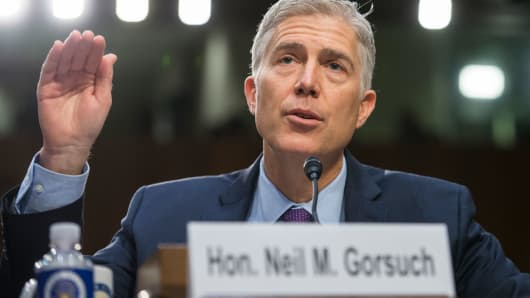 Supreme Court Justice nominee Neil Gorsuch testifies on the second day of his Senate Judiciary Committee confirmation hearing in Hart Building, March 21, 2017.