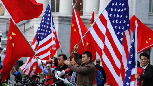 A rally welcoming China's president Xi Jinping during to Washington last year.