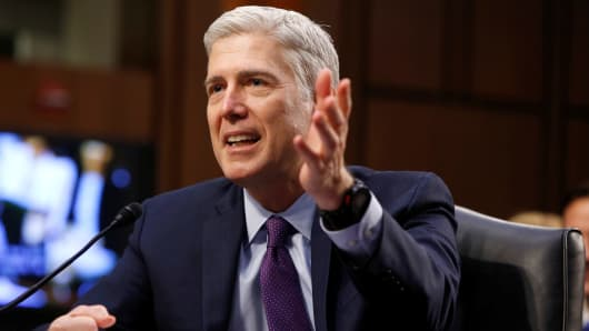 Supreme Court nominee judge Neil Gorsuch testifies before the Senate Judiciary Committee confirmation hearing on Capitol Hill in Washington March 21, 2017.