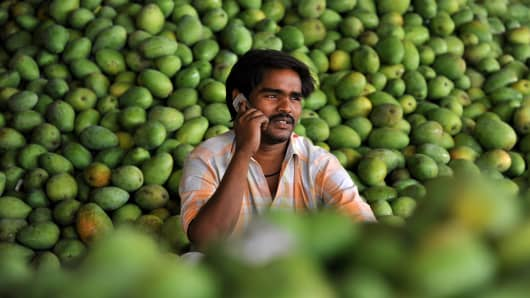 An Indian farmer talks on his mobile phone in the outskirts of Hyderabad on May 12, 2011.
