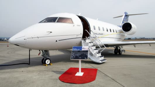 A file photo of a Bombardier Challenger 604