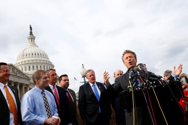Senator Rand Paul (R-KY) and other members of the House Freedom Caucus hold a news conference on Capitol Hill in Washington, U.S. March 7, 2017.
