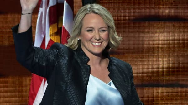 EMILY's List President Stephanie Schriock arrives on stage to deliver remarks on the third day of the Democratic National Convention at the Wells Fargo Center, July 27, 2016 in Philadelphia, Pennsylvania.