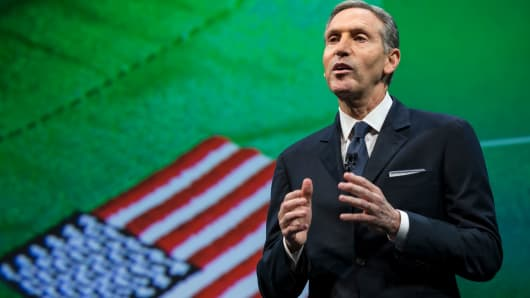 Starbucks Chairman and CEO Howard Schultz talks about the company's goal to hire 10,000 military veteran's and military spouses.