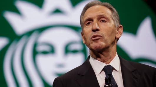 Starbucks Chairman and CEO Howard Schultz speaks at the Annual Meeting of Shareholders in Seattle, Washington on March 22, 2017.