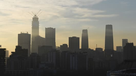 A view of the skyline of Beijing, China, on December 16, 2017.