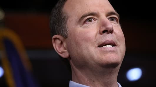 Rep. Adam Schiff (D-CA), ranking member of the House Permanent Select Committee on Intelligence, responds to committee chairman Devin Nunes's comments earlier in the day about incidental collection of communications relating to U.S. President Donald Trump during the period of the presidential transition March 22, 2017 in Washington, DC.