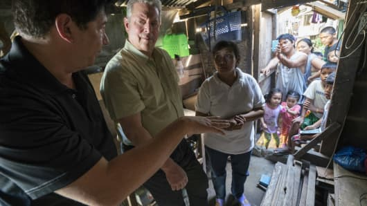 Former U.S. Vice President Al Gore in Tacloban City in the Philippines during filming of An Inconvenient Sequel: Truth To Power