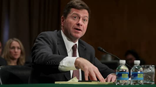 Jay Claton testifies before the Senate Banking Committee during his confirmation hearing to be chairman of the Securities and Exchange Commission in the Dirksen Senate Office Building on Capitol Hill March 23, 2017 in Washington, DC.