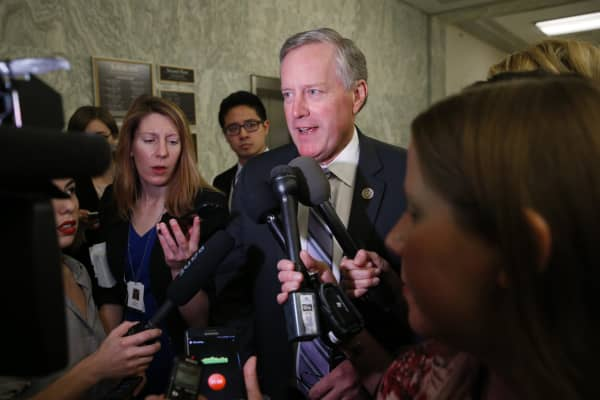 House Freedom Caucus Chairman Rep. Mark Meadows (R-NC) talks to reporters on Capitol Hill after meeting with President Donald Trump at the White House in Washington, U.S., March 23, 2017.