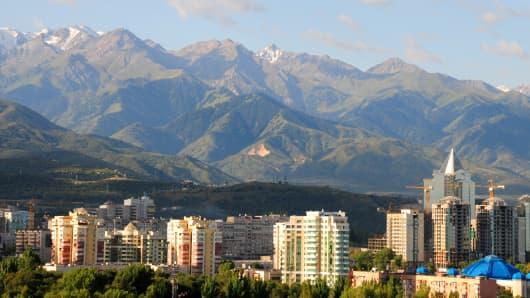 Panoramic view of Almaty city in Kazakhstan.