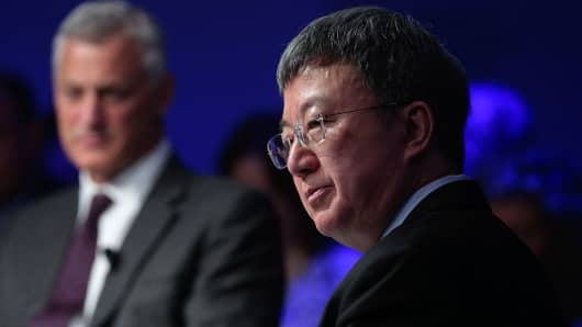 Zhu Min looks on during the 'Future-Proofing Global Finance' panel session at the World Economic Forum (WEF) in Davos, Switzerland, on Thursday, Jan. 21, 2016.