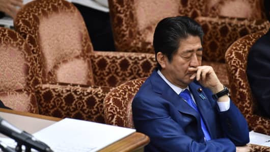 Japanese Prime Minister Shinzo Abe at a budget committee session of the House of Councilors at the Parliament in Tokyo on March 24, 2017.