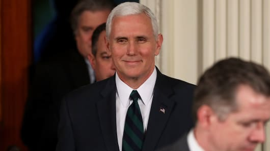 A March 17, 2017 file photo of Vice President Mike Pence.
