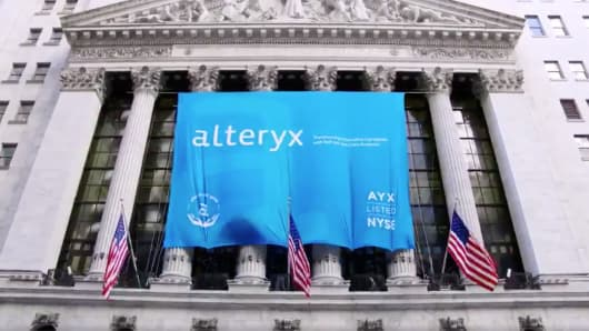 An Alteryx banner outside the New York Stock Exchange on March 24, 2017.