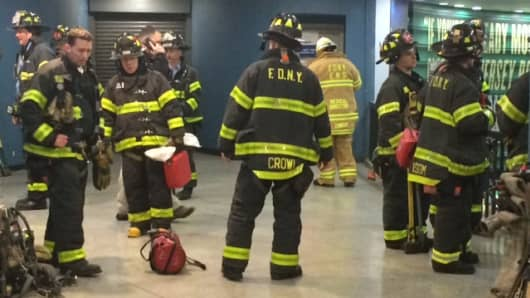 NYFD responding to a train derailment at Penn Station.