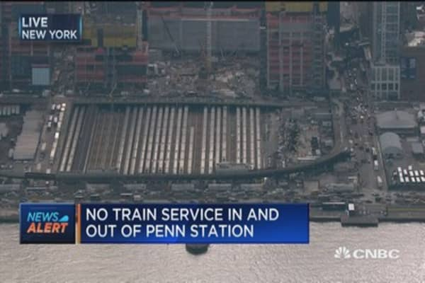 Amtrak train derails at Penn Station