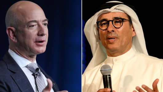 Amazon founder and CEO Jeff Bezos and real estate tycoon Mohamed Alabbar.