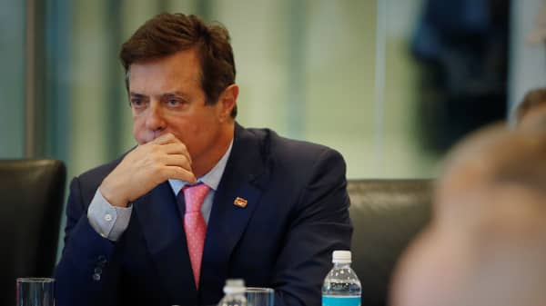 Paul Manafort of Republican presidential nominee Donald Trump's staff listens during a round table discussion on security at Trump Tower in the Manhattan borough of New York, U.S., August 17, 2016.