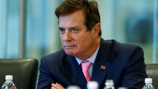 Paul Manafort of Republican presidential nominee Donald Trump's staff listens during a round table discussion on security at Trump Tower in the Manhattan borough of New York, August 17, 2016.