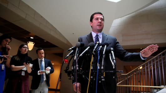 House Permanent Select Committee on Intelligence Chairman Representative Devin Nunes (R-CA) briefs reporters at the U.S. Capitol in Washington, U.S., March 24, 2017.